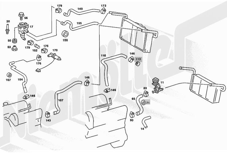 heizung und l ftung mb 500sl mo 85 89. Black Bedroom Furniture Sets. Home Design Ideas